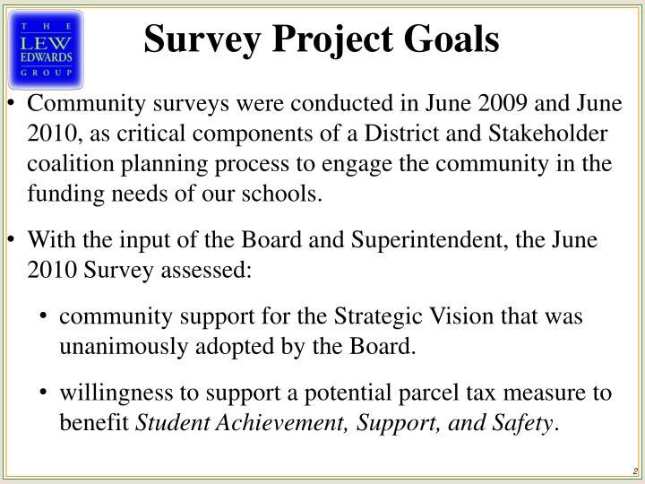 Survey Project Goals