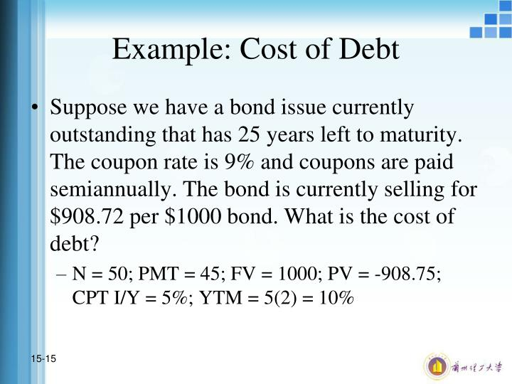 Example: Cost of Debt