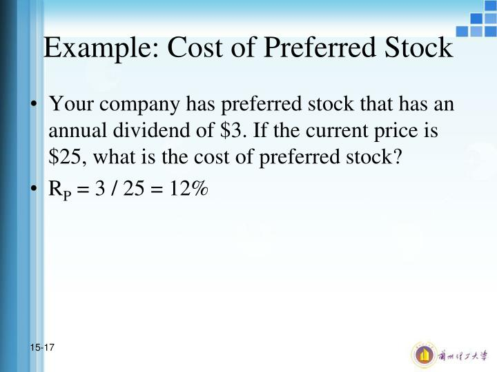 Example: Cost of Preferred Stock