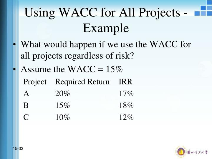 Using WACC for All Projects - Example
