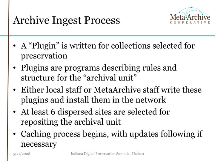 Archive Ingest Process