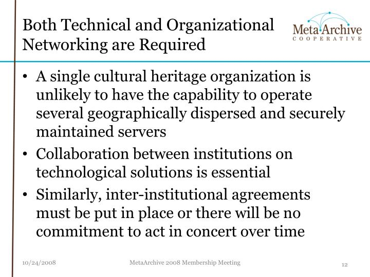 Both Technical and Organizational Networking are Required