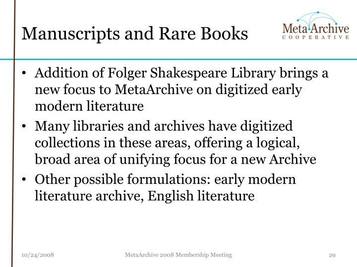 Manuscripts and Rare Books
