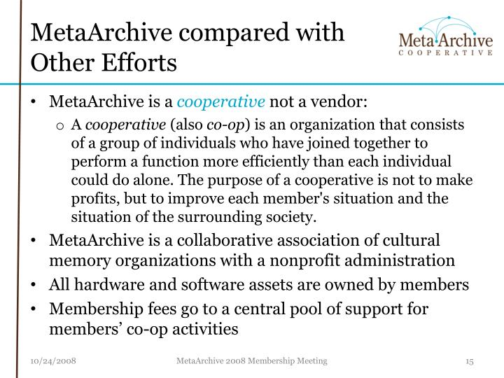 MetaArchive compared with Other Efforts