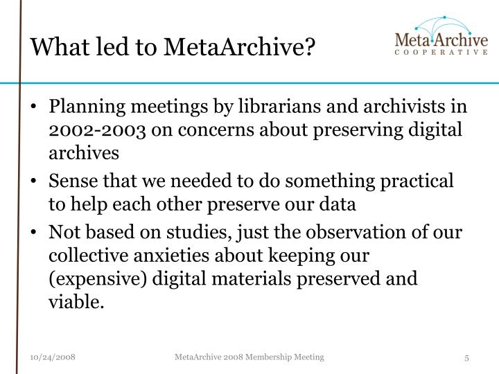 What led to MetaArchive?