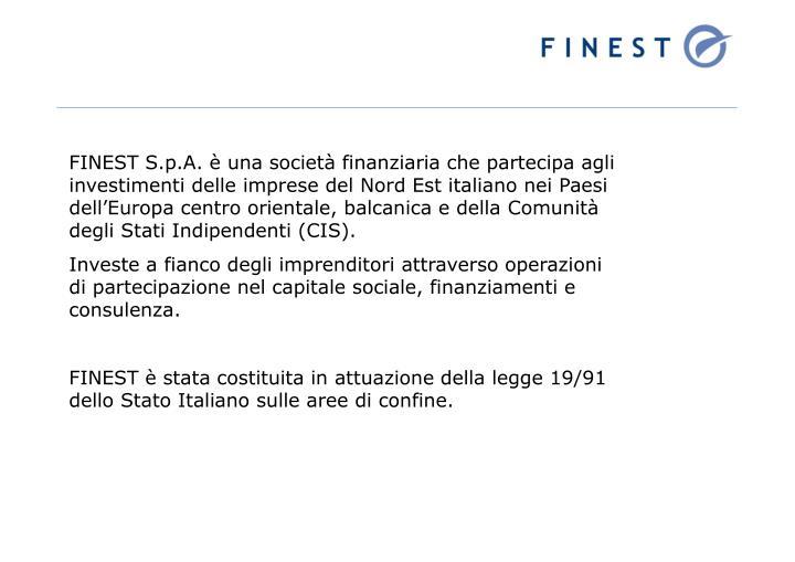 FINEST S.p.A. è una società finanziaria che partecipa agli investimenti delle imprese del Nord Est italiano nei Paesi dell'Europa centro orientale, balcanica e della Comunità degli Stati Indipendenti (CIS).