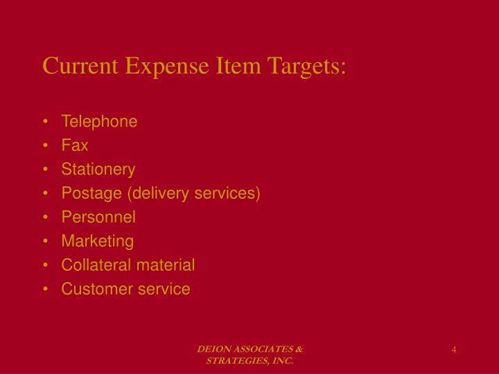 Current Expense Item Targets: