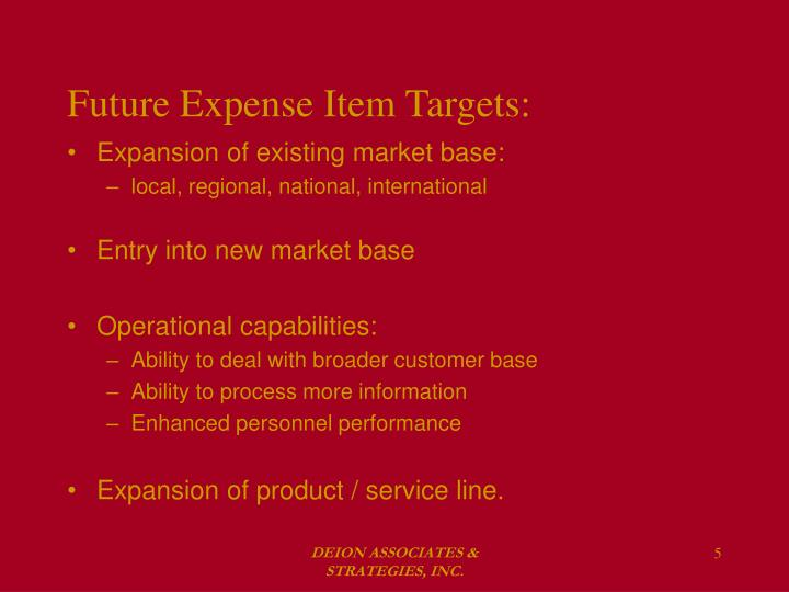 Future Expense Item Targets: