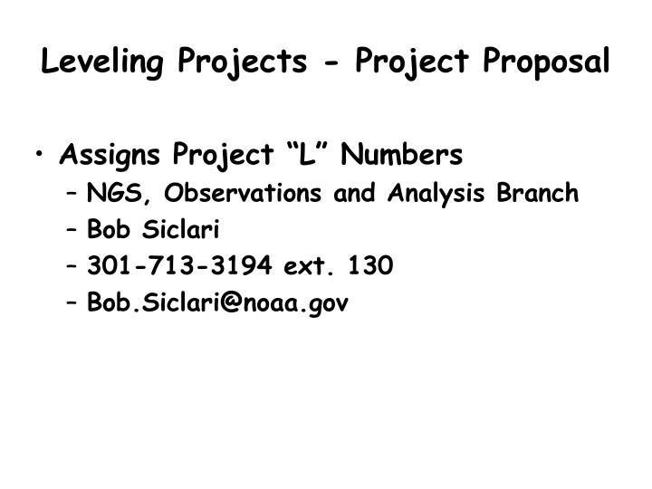 Leveling Projects - Project Proposal