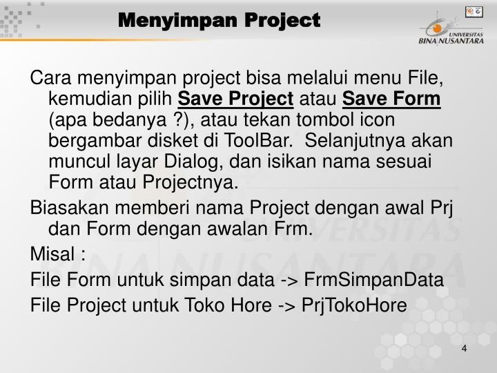 Menyimpan Project