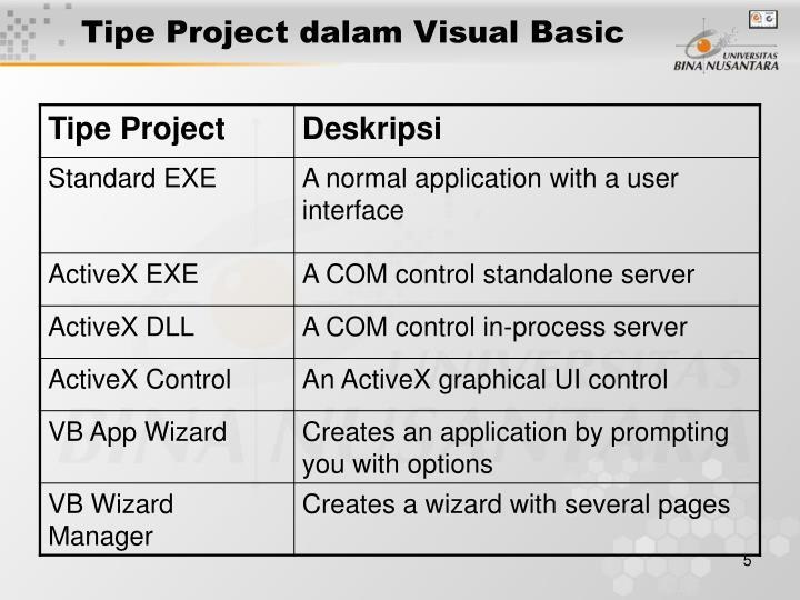 Tipe Project dalam Visual Basic