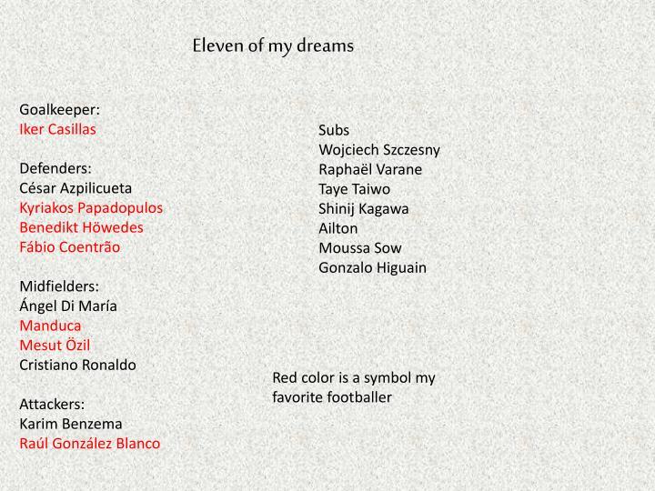 Eleven of my dreams