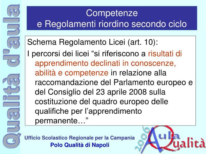 Schema Regolamento Licei (art. 10):