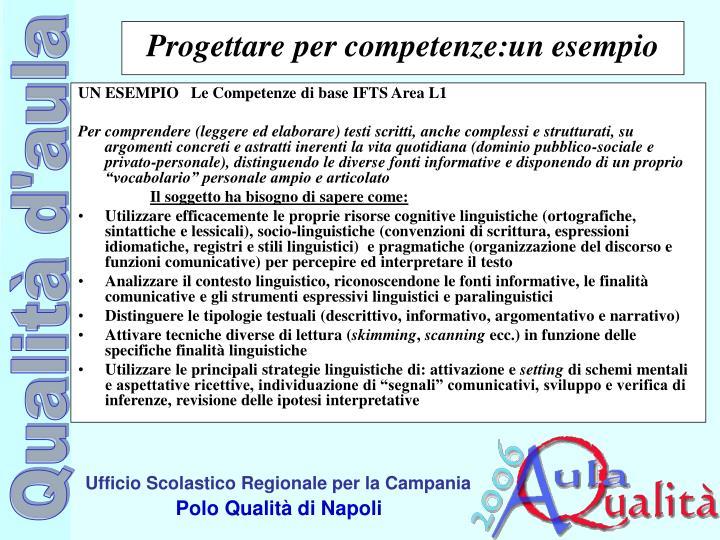UN ESEMPIO   Le Competenze di base IFTS Area L1