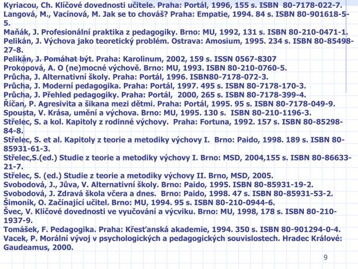 Kyriacou, Ch. Klíčové dovednosti učitele. Praha: Portál, 1996, 155 s. ISBN  80-7178-022-7.