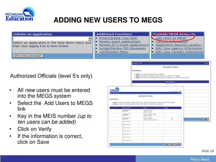 ADDING NEW USERS TO MEGS