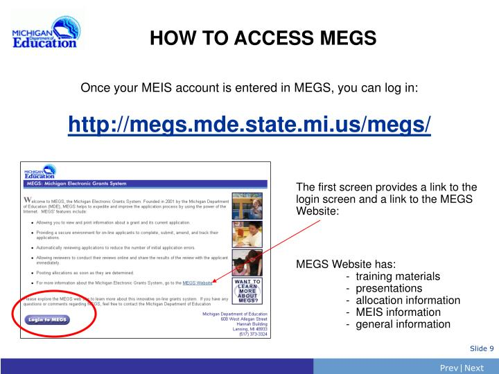 HOW TO ACCESS MEGS