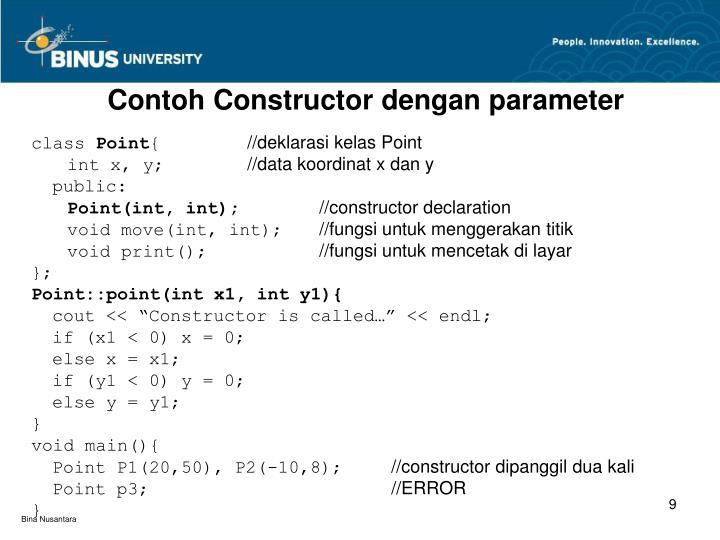 Contoh Constructor dengan parameter