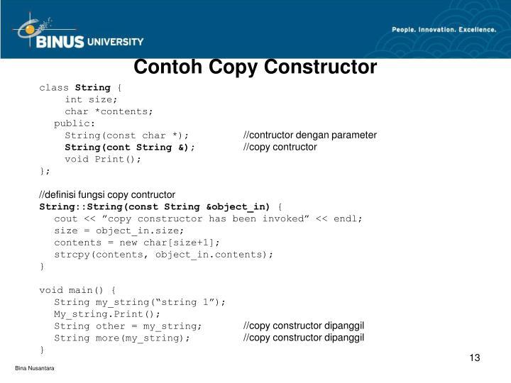 Contoh Copy Constructor
