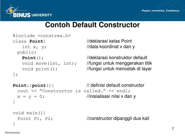 Contoh Default Constructor