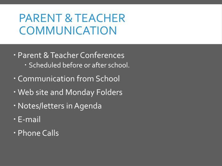 Parent & Teacher Communication