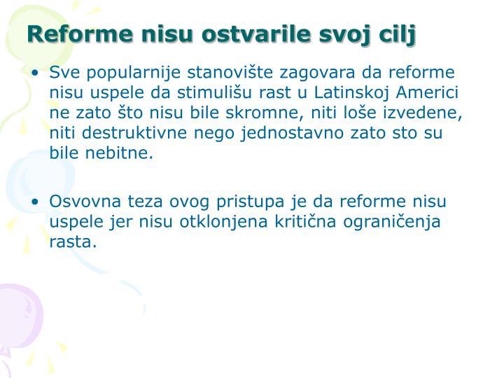 Reforme nisu ostvarile svoj cilj