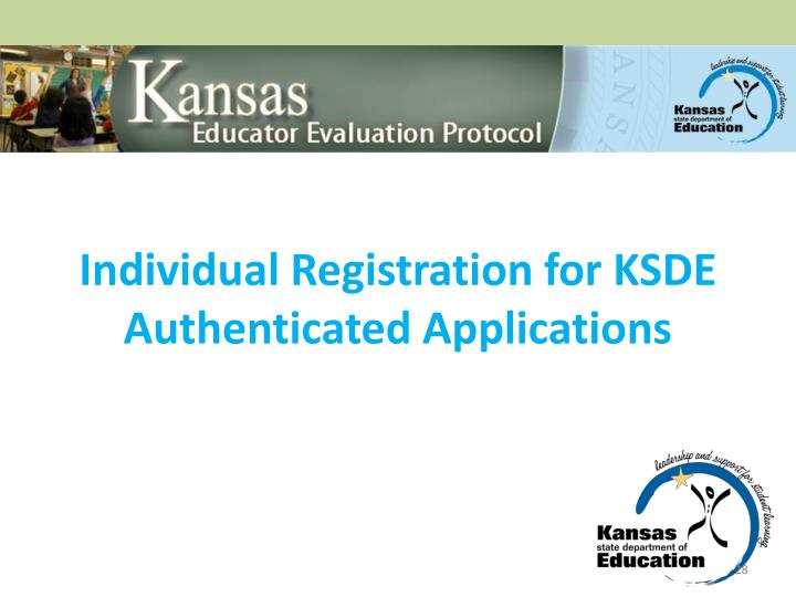 Individual Registration for KSDE Authenticated Applications