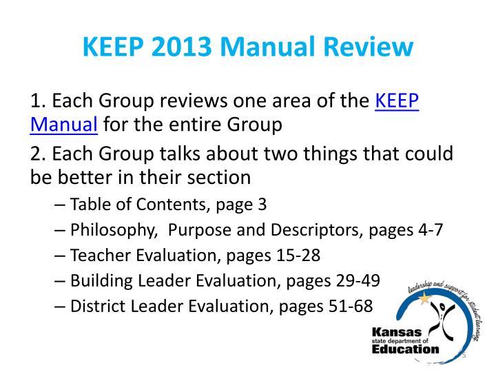 KEEP 2013 Manual