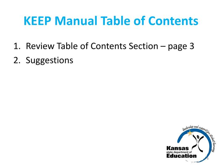 KEEP Manual Table of Contents