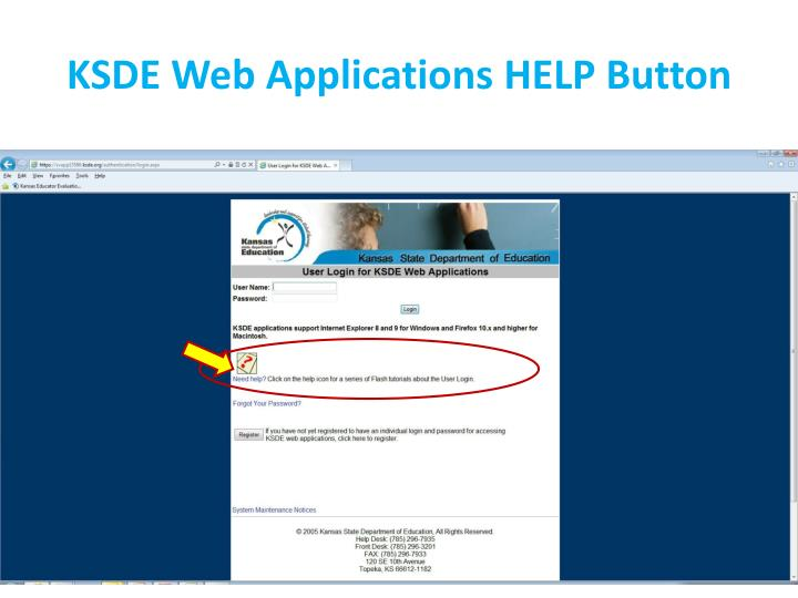 KSDE Web Applications HELP Button
