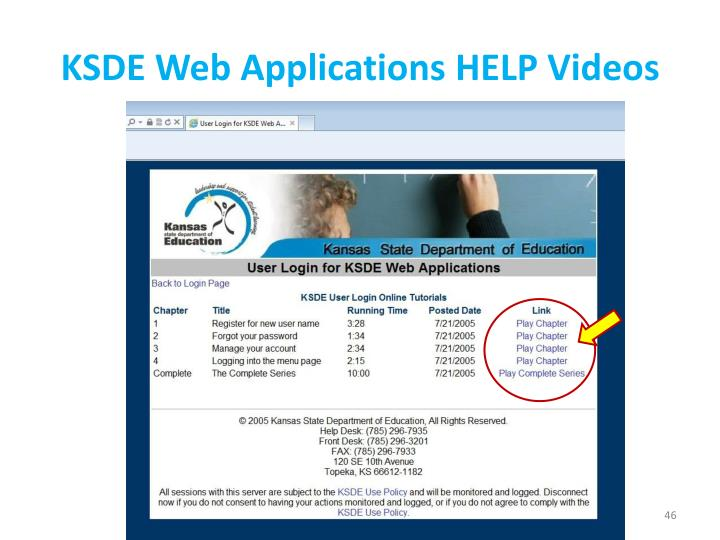 KSDE Web Applications HELP Videos