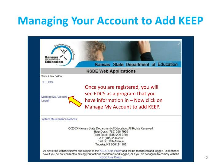 Managing Your Account to Add KEEP