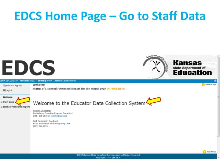 EDCS Home Page – Go to Staff Data