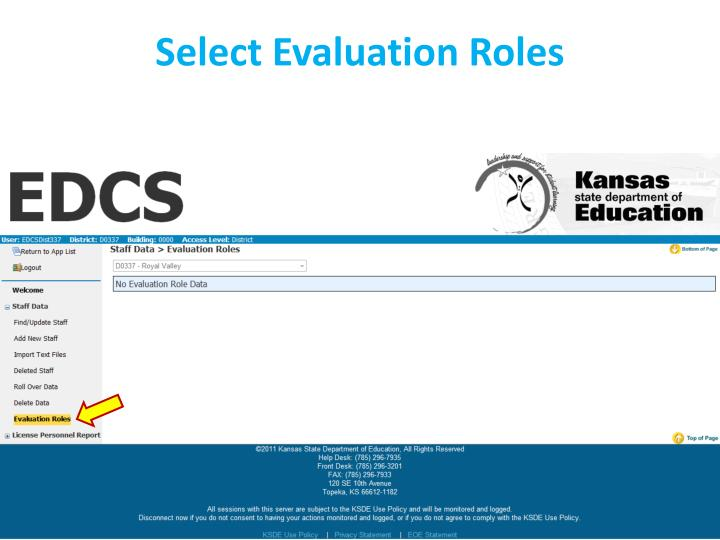 Select Evaluation Roles