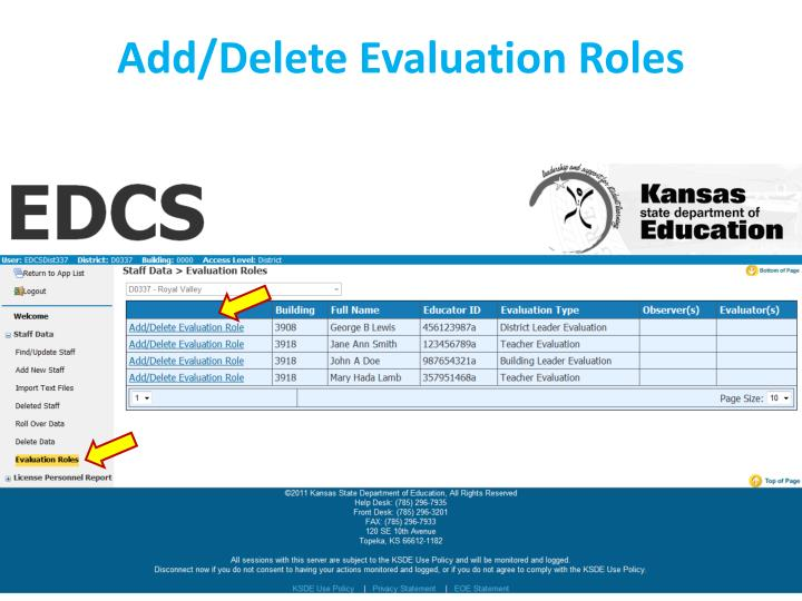 Add/Delete Evaluation Roles