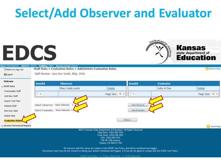 Select/Add Observer and Evaluator
