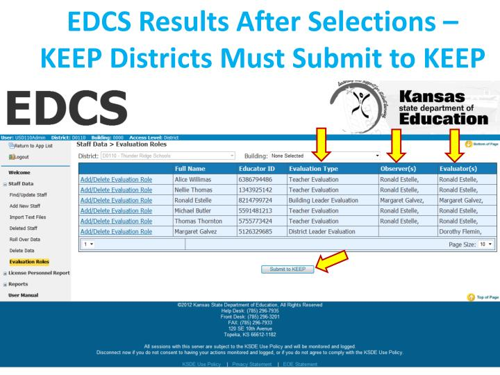 EDCS Results After Selections – KEEP Districts Must Submit to KEEP