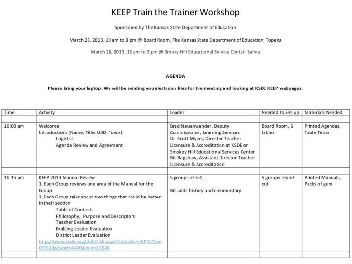 Keep train the trainer workshops