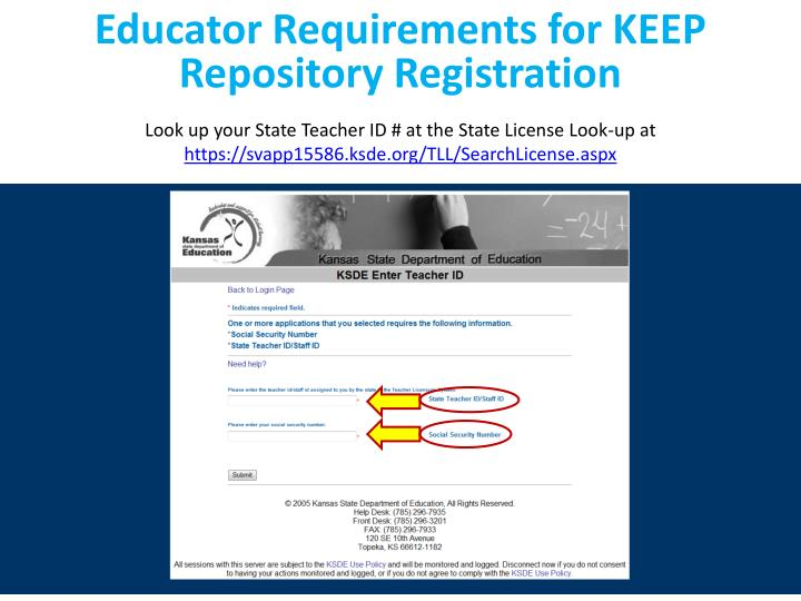 Educator Requirements for KEEP Repository Registration