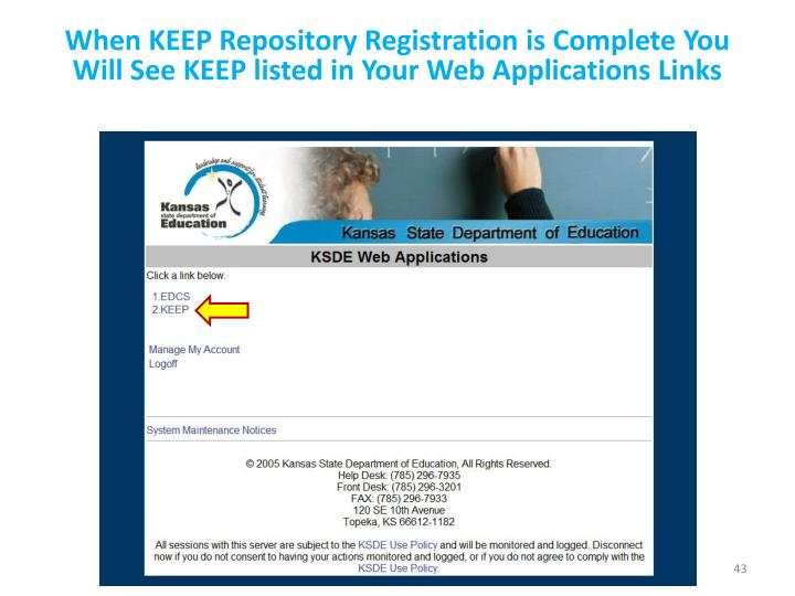 When KEEP Repository Registration is Complete You Will See KEEP listed in Your Web Applications Links