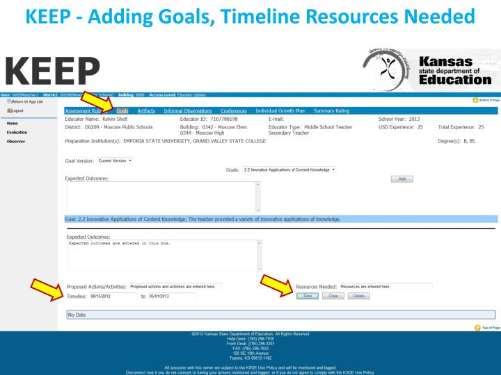 KEEP - Adding Goals, Timeline Resources Needed
