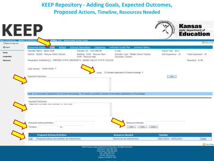 KEEP Repository - Adding Goals, Expected Outcomes,