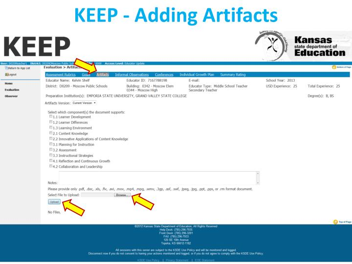 KEEP - Adding Artifacts