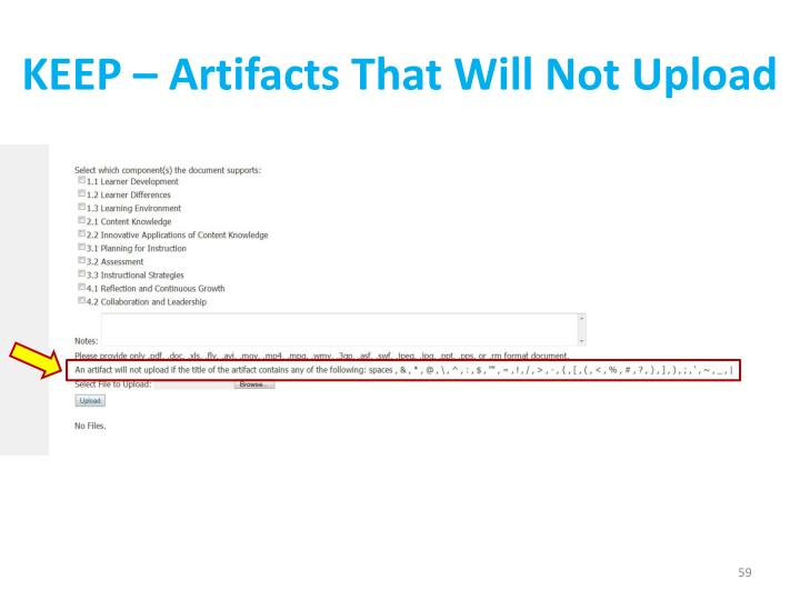 KEEP – Artifacts That Will Not Upload