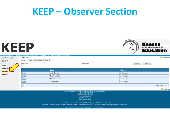 KEEP – Observer Section