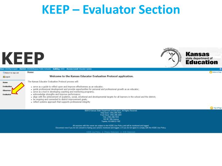 KEEP – Evaluator Section