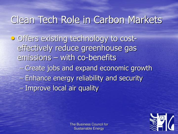 Clean Tech Role in Carbon Markets