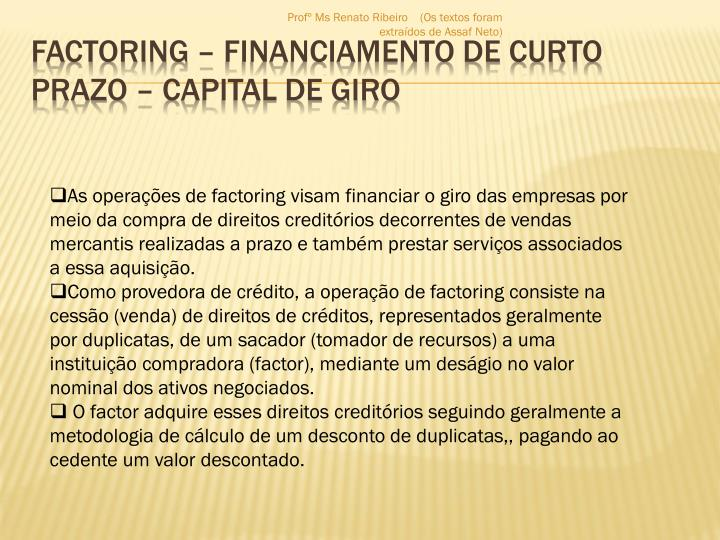 Factoring financiamento de curto prazo capital de giro
