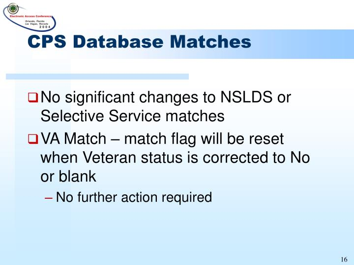 CPS Database Matches