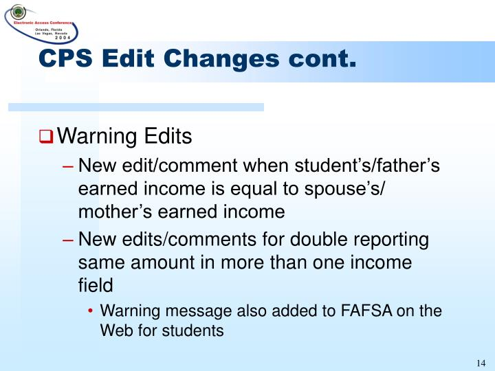 CPS Edit Changes cont.